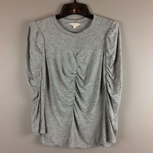 Rebecca Taylor rouched long sleeve gray top